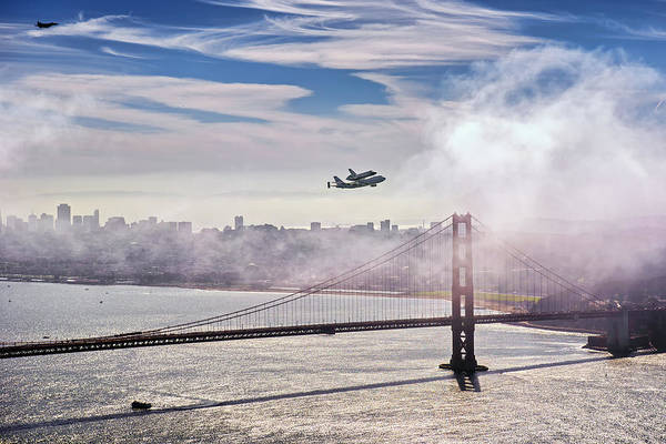 Space Shuttle Photograph - The Space Shuttle Endeavour Over Golden Gate Bridge 2012 by David Yu