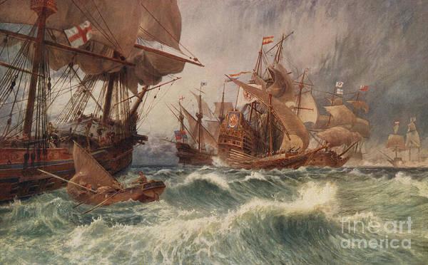 Drake Wall Art - Painting - The Spanish Armada by English School