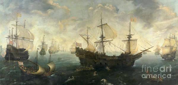 Wall Art - Painting - The Spanish Armada Of The English Coast In 1588 by Cornelis Claesz van Wieringen