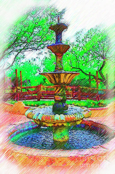 Digital Art - The Spanish Courtyard Fountain by Kirt Tisdale