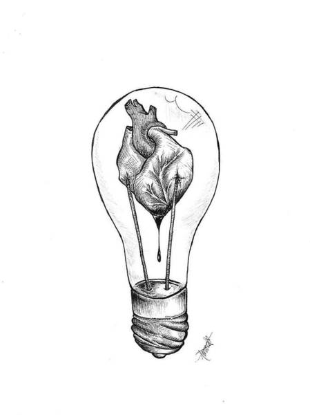 Bulb Drawing - The Spark by Aurora Bartells