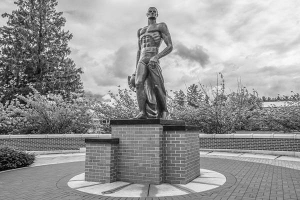The Spartan Statue Black And White  Art Print
