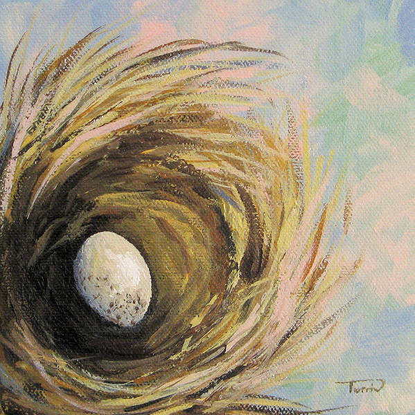 Bird Wall Art - Painting - The Speckled Egg by Torrie Smiley
