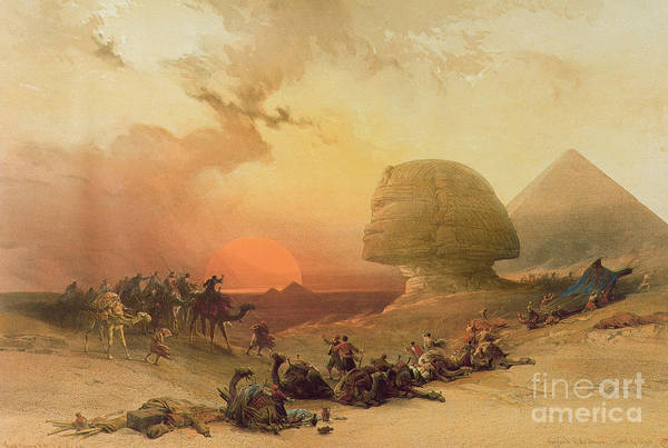 1864 Wall Art - Painting - The Sphinx At Giza by David Roberts