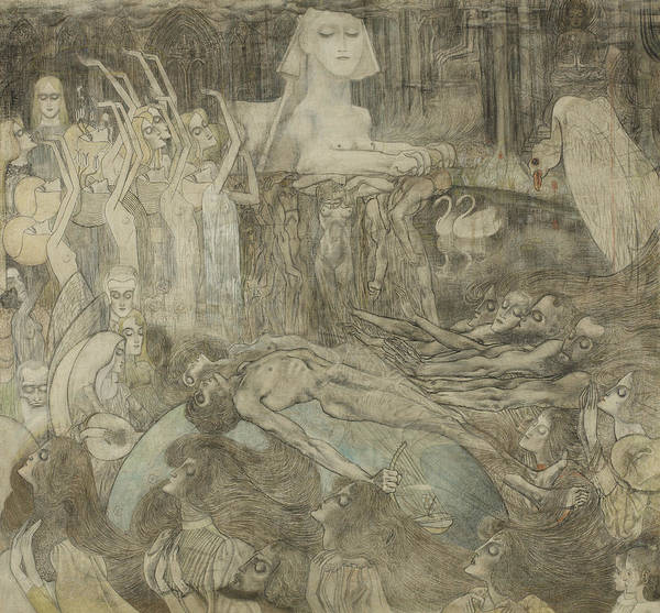 Drawing - The Sphinx by Jan Toorop