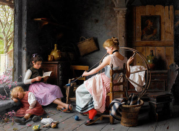 Subject Wall Art - Painting - The Spinning Wheel by Giovanni Battista Torriglia