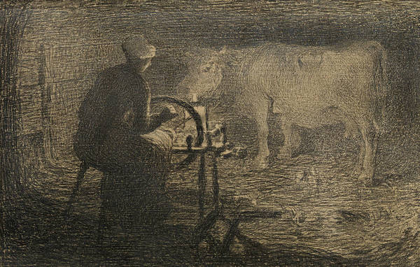 Drawing - The Spinning Wheel  by Giovanni Segantini