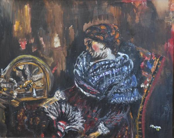 Wall Art - Painting - The Spinster by Stephanie Sunshine