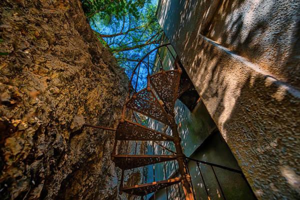 Photograph - The Spiral Staircase Of The Abbandoned Children Summer Vacation Building - La Scala A Chiocciola Del by Enrico Pelos