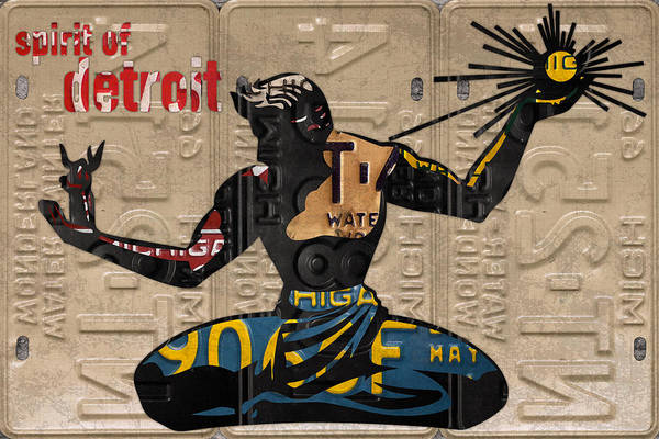 Statue Mixed Media - The Spirit Of Detroit Statue Recycled Michigan License Plate Art Homage by Design Turnpike