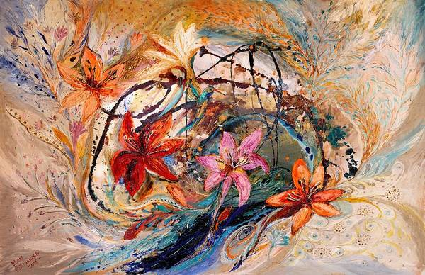Wall Art - Painting - The Splash Of Life 17. Humming-bird And Exotic Flowers by Elena Kotliarker
