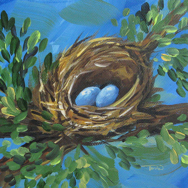 Bird Wall Art - Painting - The Spring Nest  by Torrie Smiley