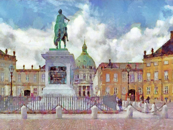 Digital Art - The Square At Copenhagen's Amalienborg Palace by Digital Photographic Arts