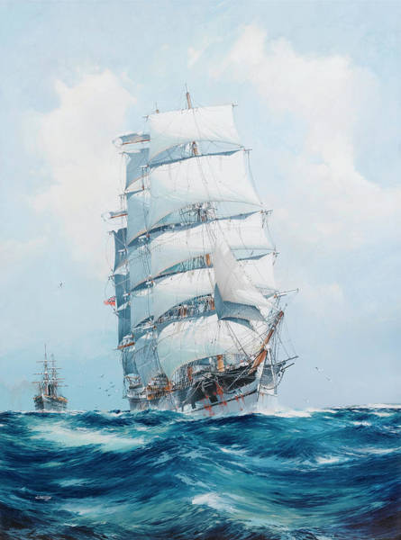 Wall Art - Painting - The Square-rigged Wool Clipper Argonaut Under Full Sail And Running Before The Wind, With The  Steam by Jack Spurling