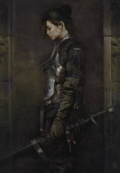 Sword Painting - The Squire by Eve Ventrue