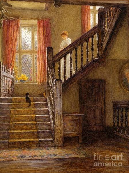Wall Art - Painting - The Staircase Whittington Court by Helen Allingham
