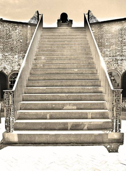 Battle Of The Atlantic Wall Art - Photograph - The Stairs At Fort Macon North Carolina Black And White by Lisa Wooten
