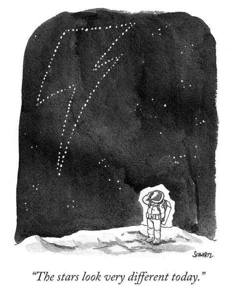 Moon Drawing - The Stars Look Very Different Today by Benjamin Schwartz