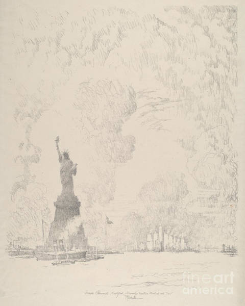 Entry Drawing - The Statue, New York Bay by Joseph Pennell