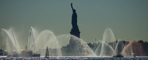 Fireboat Wall Art - Photograph - The Statue Of Liberty by David Sparer