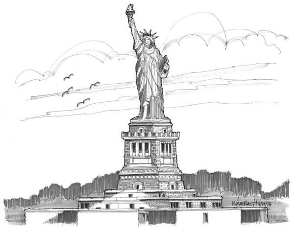 Drawing - The Statue Of Liberty Lighthouse by Richard Wambach