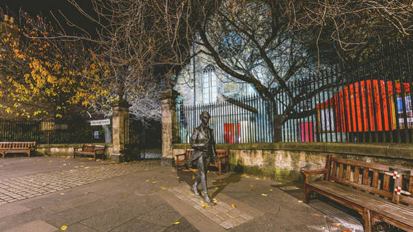 Photograph - The Statue Of Scottish Poet Robert Fergusson Outside Canongate Kirk by Jacek Wojnarowski