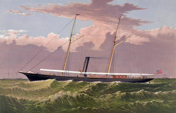 Corsair Painting - The Steam Yacht Corsair - Vintage Maritime Print by War Is Hell Store