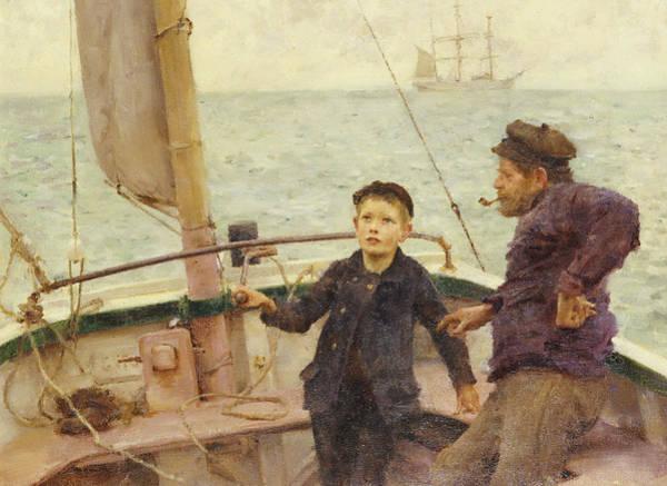 Rudder Painting - The Steering Lesson by Henry Scott Tuke