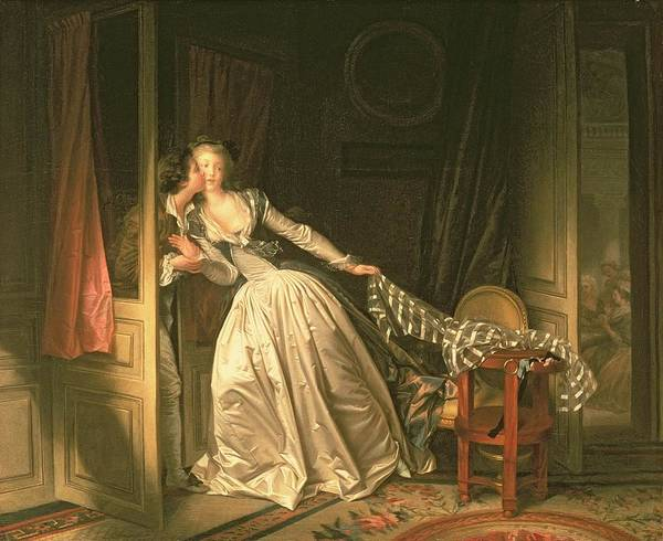 Back Painting - The Stolen Kiss by Jean-Honore Fragonard
