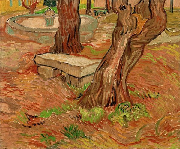 Wall Art - Painting - The Stone Bench In The Asylum At Saint-remy by Vincent van Gogh