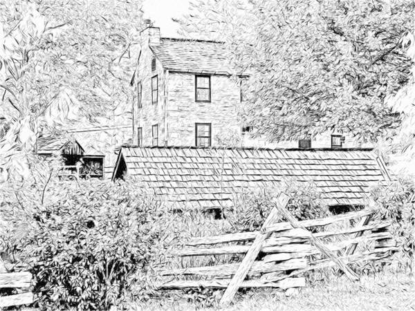 Digital Art - The Stone House At The Oliver Miller Homestead by Digital Photographic Arts