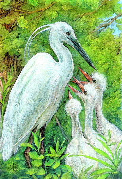 Guache Painting - The Stork - A Symbol Of Childbirth by Natalie Berman