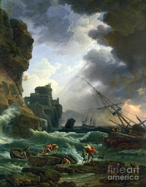 Saving Wall Art - Painting - The Storm by Claude Joseph Vernet