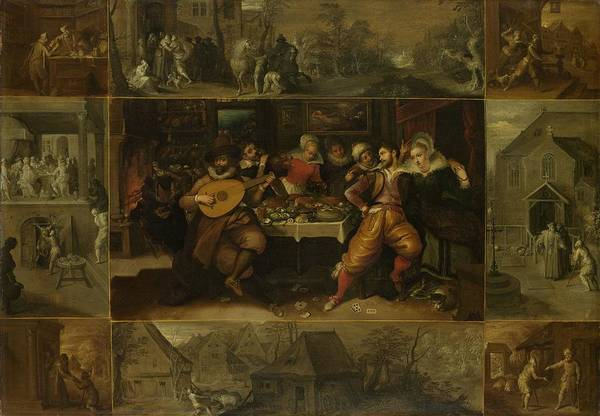 Fashion Plate Painting - The Story Of The Prodigal Son, 1620 by Frans Francken Ii