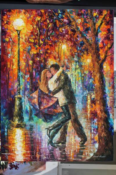 Wall Art - Painting - The Story Of The Umbrella by Leonid Afremov