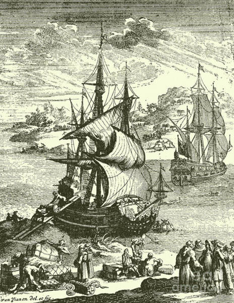 Wall Art - Drawing - The Stranding Of The Aimable, Matagorda Bay, Texas, 1685 by French School