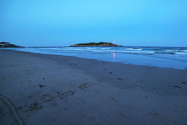 Photograph - The Strawberry Moon Rising Over Good Harbor Beach Gloucester Ma Island Wide Angle by Toby McGuire