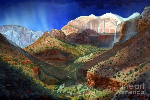 Zion Painting - The Streaked Wall  Zion by Jerry Bokowski