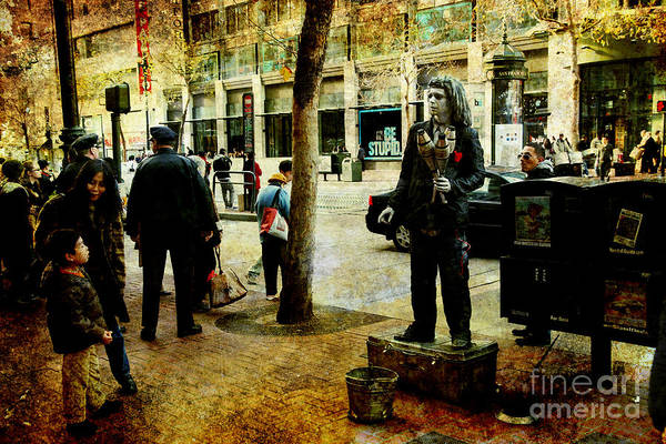 Juggler Photograph - The Street Performer . Texture by Wingsdomain Art and Photography