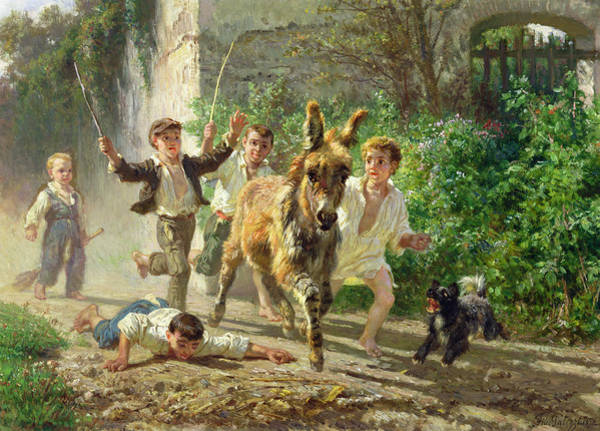 Donkey Painting - The Street Urchins by F Palizzi