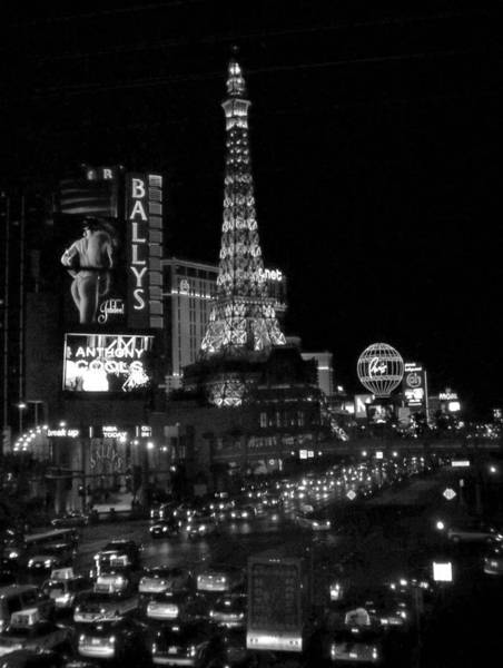Photograph - The Strip By Night B-w by Anita Burgermeister