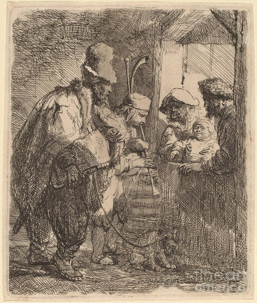 Wall Art - Drawing - The Strolling Musicians by Rembrandt Van Rijn