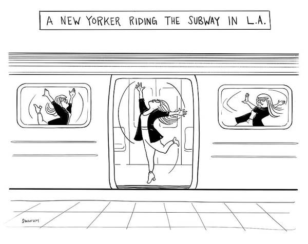 Riding Drawing - The Subway In La by Sharon Levy