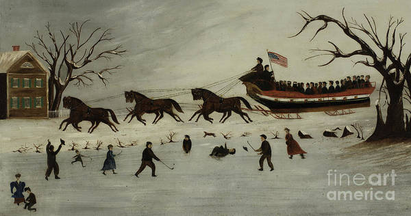 Sleigh Wall Art - Painting - The Suffragettes Taking A Sleigh Ride by American School