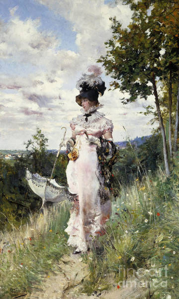 Stroll Painting - The Summer Stroll by Giovanni Boldini