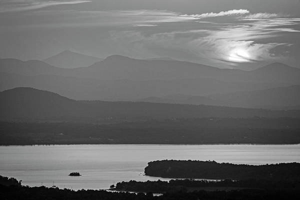 Photograph - The Sun Goes Down Over Lake Champlain And The Adirondacks From Mount Philo Charlotte Vermont Bw by Toby McGuire