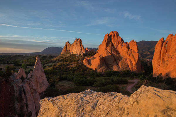 El Paso County Photograph - The Sun Illuminates The Red Rock Formation At The Garden Of The  by Bridget Calip