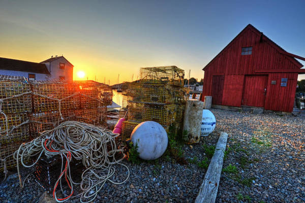 Photograph - The Sun Rising By Motif 1 In Rockport Ma Bearskin Neck Lobster Traps by Toby McGuire