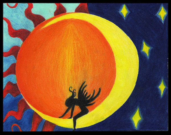 Wall Art - Drawing - The Sun The Moon And The Fairy by Alycia Ryan