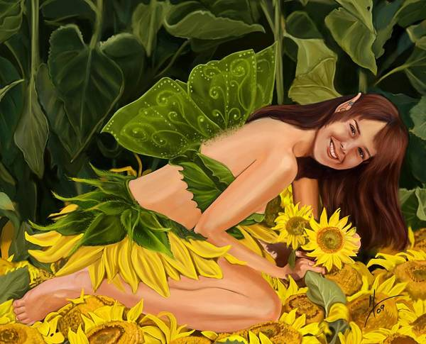 Wall Art - Painting - The Sunflower Fairy by Maggie Terlecki